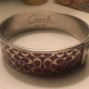 Coach Purple & Silver logo metallic bracelet